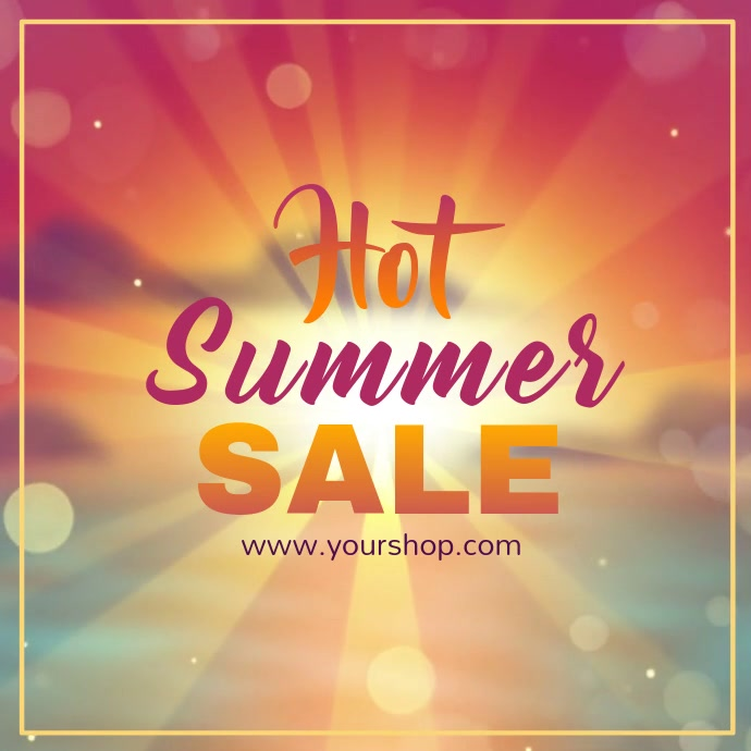 Summer sale video advert square beach shine sun promo