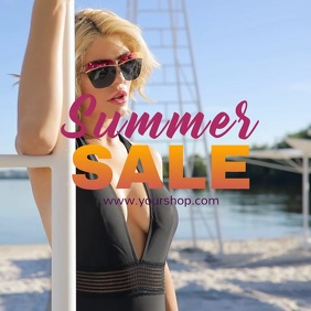 Summer sale video advert square beach shine sun promo woman