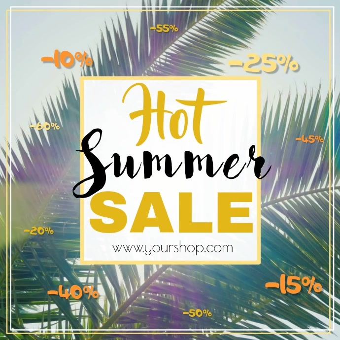 Summer sale video advert square palms beach hot sun promo