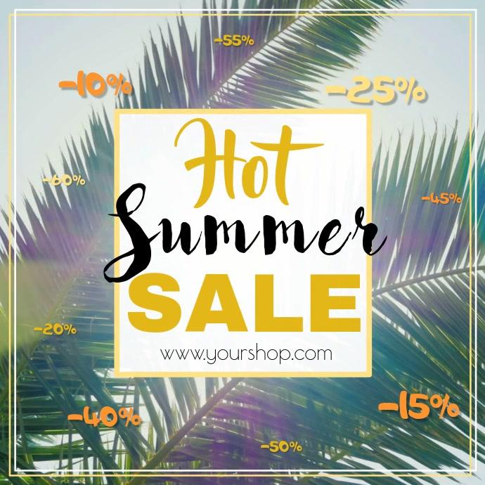 Summer sale video advert square palms beach hot sun promo