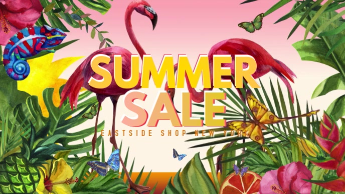 Summer Sale Video Flowers Butterfly Lawn Shop Sun Flamingo template