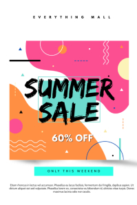 Summer Sale White and Pink Poster