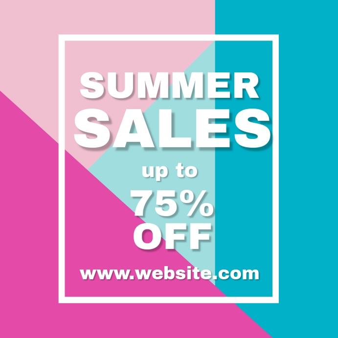 summer sales design template up to 75% off Instagram Post