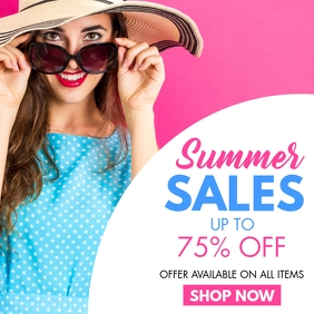 summer sales purple and blue colors for summe โพสต์บน Instagram template