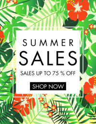 summer sales tropical background design templ