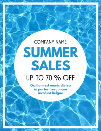 Summer sales up to 70% off advertisement flye