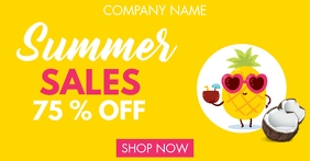 summer sales up to 75% off advertisement โฆษณา Facebook template