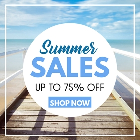 summer sales up to 75% off design template Instagram Post