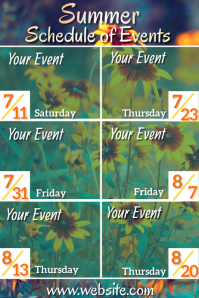 Summer Schedule of Events Poster Plakat template