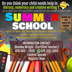 Summer School Flyer Square (1:1) template