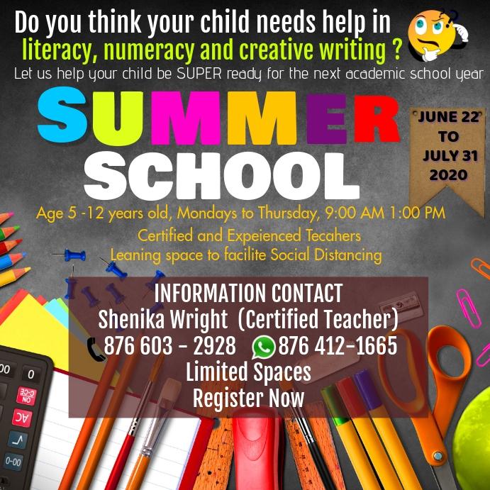 Summer School Flyer 方形(1:1) template