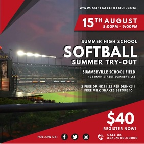 Summer Softball Try-outs Video Ad Persegi (1:1) template