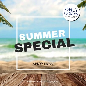 Summer Special Beach Sale Deals Price Off Ad Квадрат (1 : 1) template