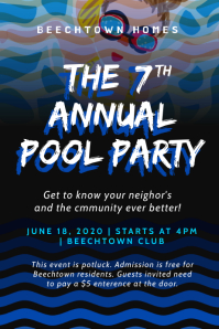 Summer Spring Annual Pool Party Template