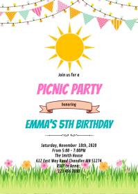 Summer sun birthday party invitation A6 template