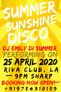 Summer Sun spring Party Template Poster