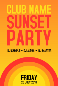 Summer Sunset Party Retro Poster