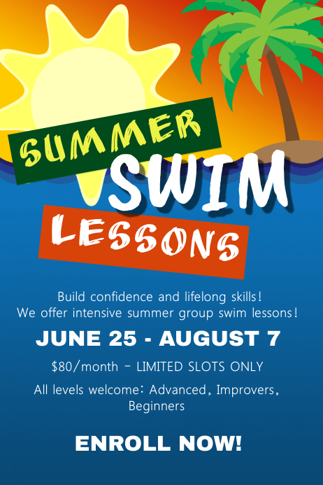 Summer Swim Lessons Flyer Template