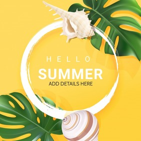 Summer template,hello summer Quadrado (1:1)