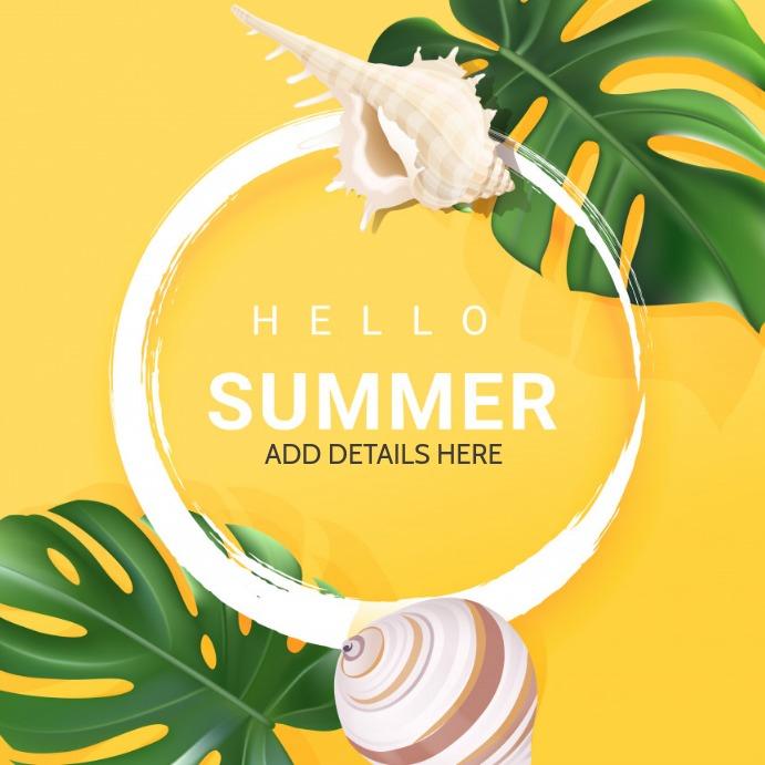 Summer template,hello summer Kvadrat (1:1)