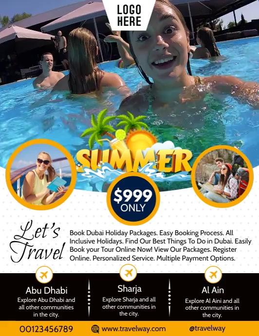 Summer Travel & Tour Video Flyer Template ใบปลิว (US Letter)