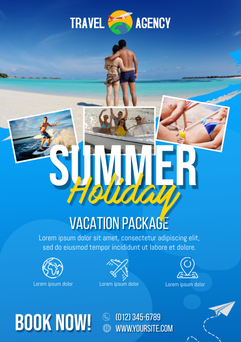 Summer Travel Vacation Flyer A4 template