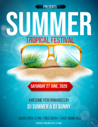 SUMMER TROPICAL PARTY EVENT Design Template Flyer (US Letter)