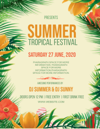 SUMMER TROPICAL PARTY EVENT Design Template 传单(美国信函)