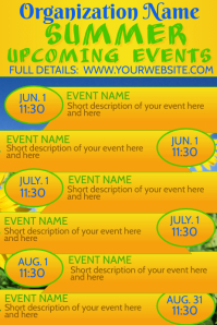 Summer Upcoming Events Calendar