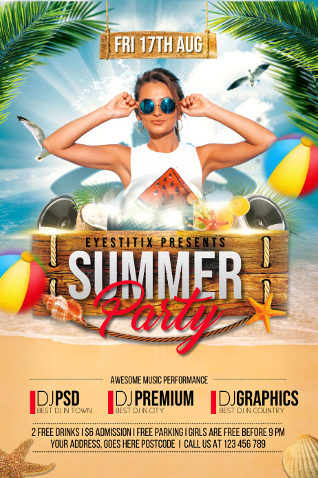 summer vibes,spring ,beach flyers Poster template