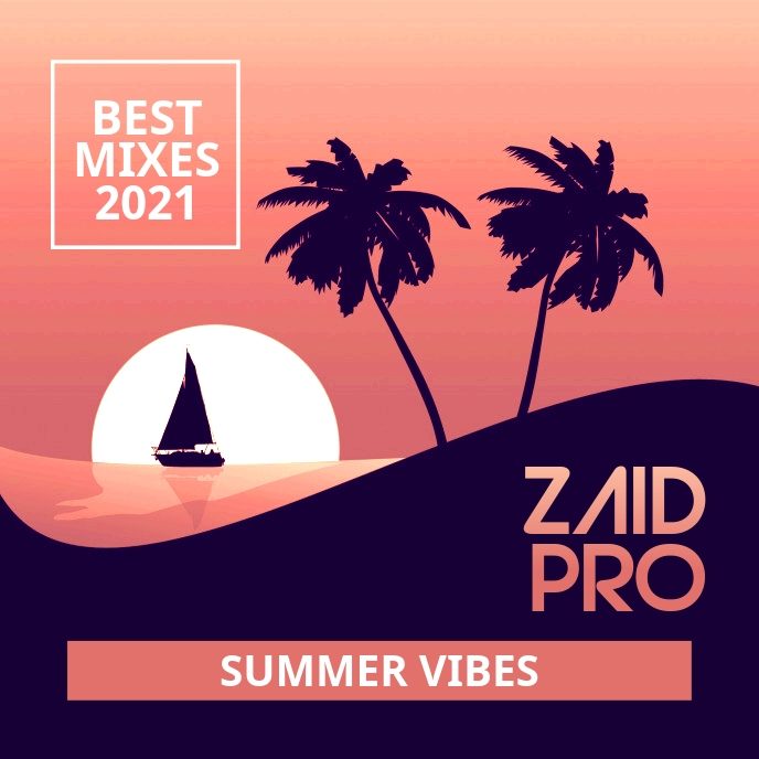 Summer Vibes Best Mixes Music CD Cover Sampul Album template