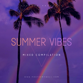 Summer Vibes CD Album Cover Template Portada de Álbum