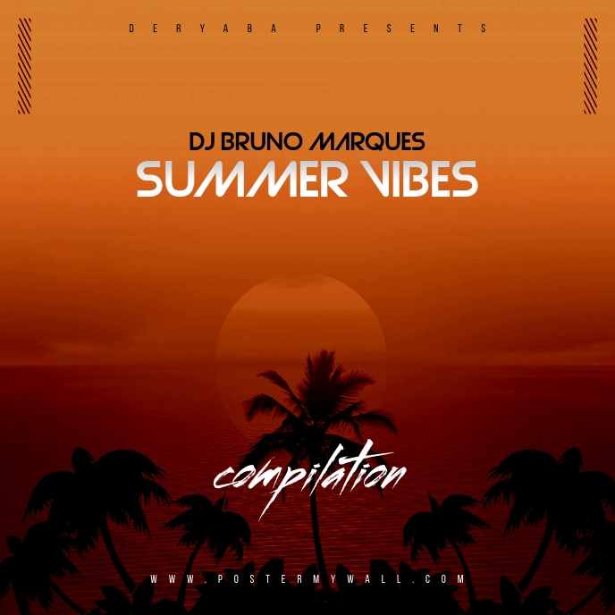 Summer Vibes Compilation The Mixtape CD Cover template