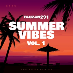 Summer Vibes Retro CD Cover Art Template