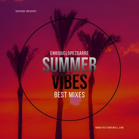 Summer Vibes Retro Colours Mixtape CD Cover ปกอัลบั้ม template