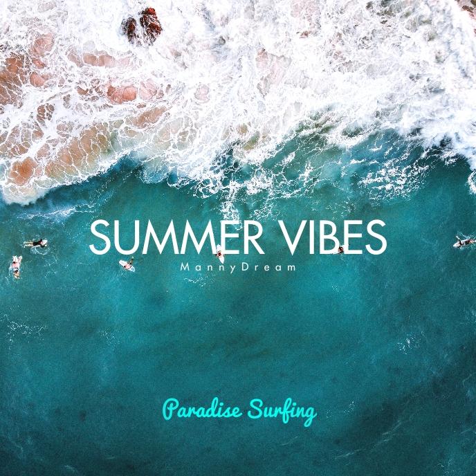 Summer Vibes Sea Beach CD Cover Music Sampul Album template