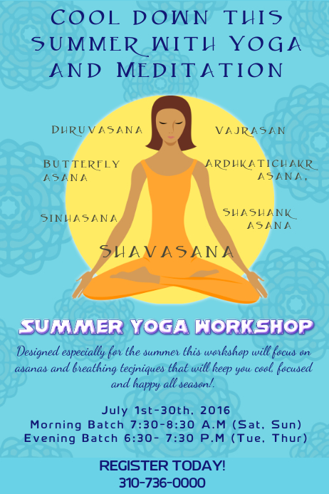 Summer Yoga And Meditation Workshop PosterFlyer Template  Postermywall