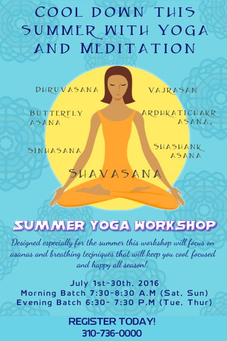 Summer Yoga And Meditation Workshop Poster/Flyer Template