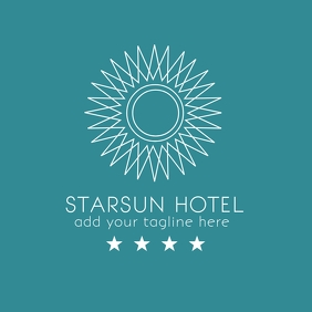 Sun and star minimal hotel logo Logotipo template