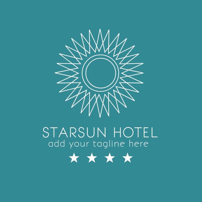 Sun and star minimal hotel logo
