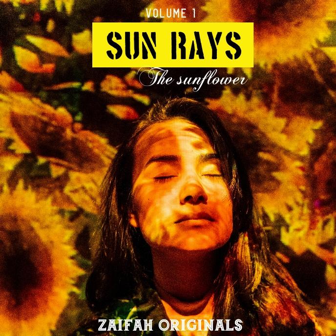 Sun rays sunflower album cover design template