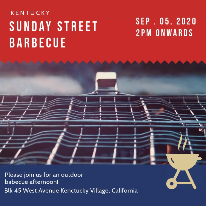 Sunday Barbecue Event Invite Video Template Square (1:1)