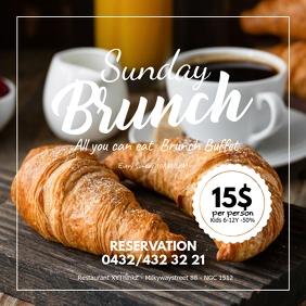 Sunday Brunch Breakfast Buffet Flyer Poster Instagram 帖子 template