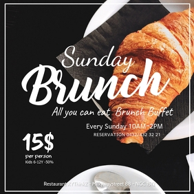 Sunday Brunch Breakfast Buffet Flyer Poster Message Instagram template