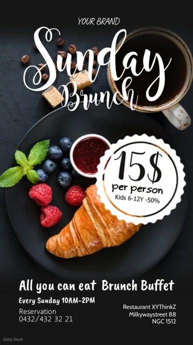 Sunday Brunch Breakfast Buffet Restaurant Ad Instagram Story template