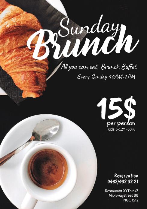 Sunday brunch Buffer Breakfast coffee Flyer