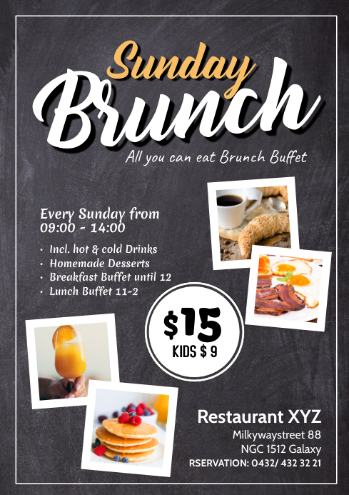 Sunday Brunch Buffet all you can eat Flyer Chalk Board