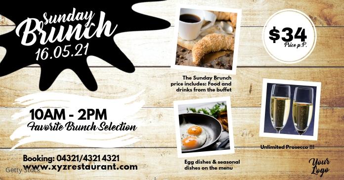 Sunday Brunch Buffet Banner Flyer Breakfast Ad Template