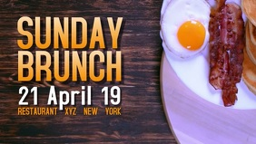 Sunday Brunch Buffet Breakfast Eggs Bacon Video Ad Banner