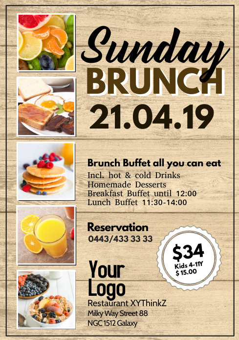 Sunday Brunch Buffet Breakfast Flyer Poster Restaurant